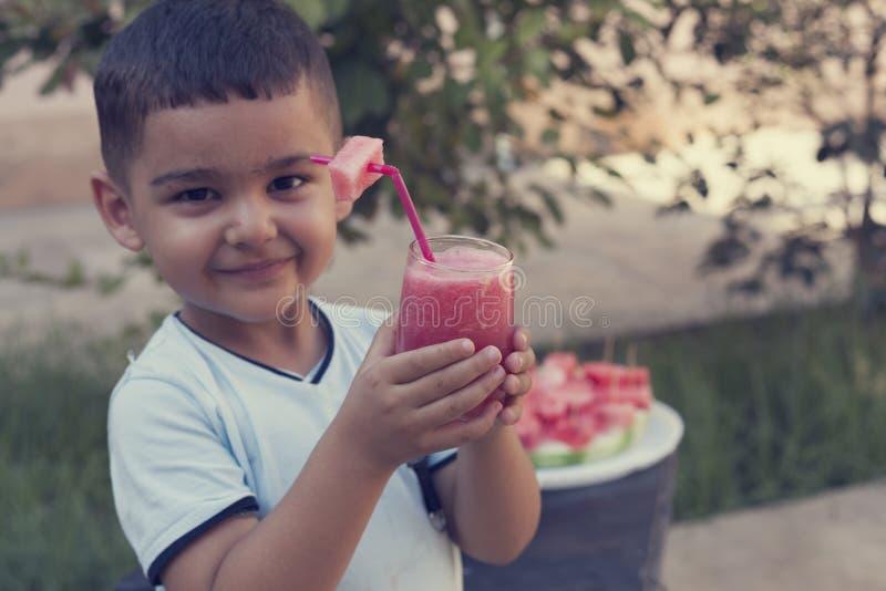 Kleiner Junge, der frische Limonade mit Stück der Wassermelone am Garten trinkt Picknickkorb mit Nahrung, Früchten und Flasche We lizenzfreie stockbilder