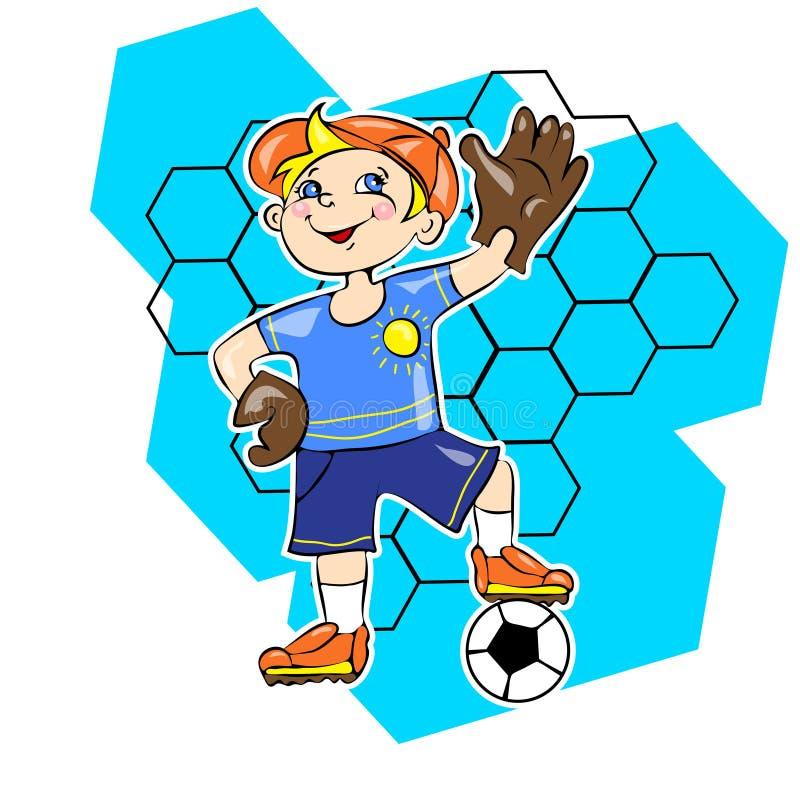 Kleiner Junge, der Fußball als Torhütervektor spielt vektor abbildung