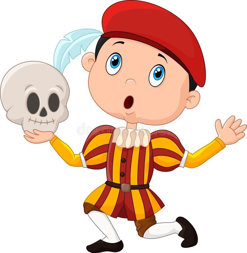 Kleiner Junge, der Hamlet in einem Schulspiel, einen Schädel halten spielt vektor abbildung