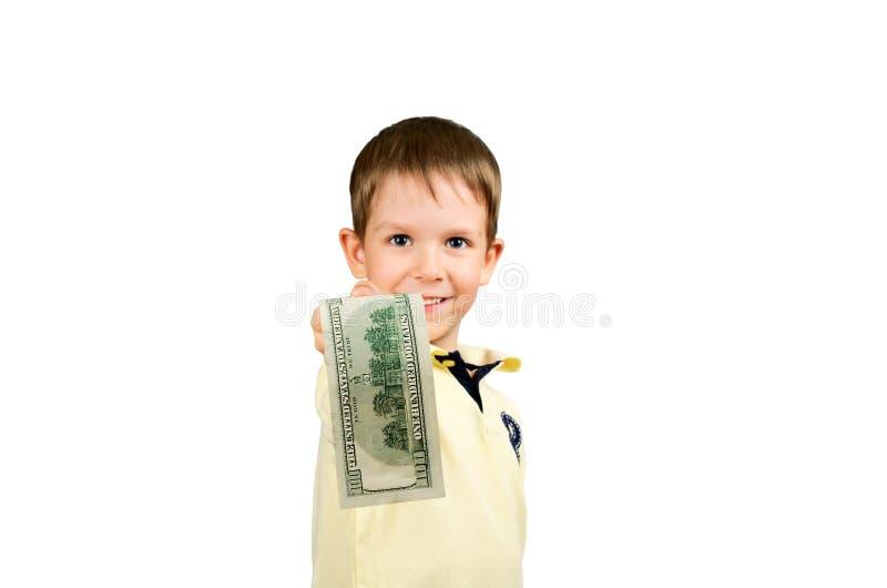 Kleiner Junge, der Haushaltplan 100 US-Dollars gibt stockfotos