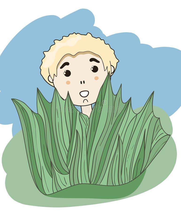 Kleiner Junge, der hinter dem Gras sich versteckt vektor abbildung