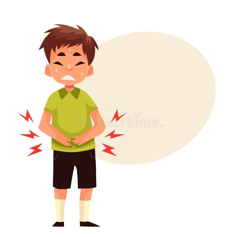Kleiner Junge, der Magenschmerzen hat lizenzfreie abbildung