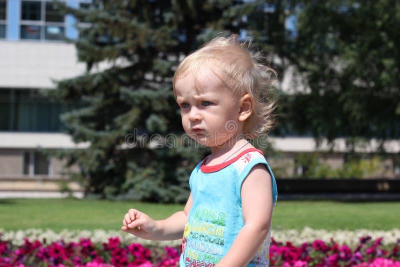 Kleiner Junge, der nahe Blumen aufwirft lizenzfreie stockbilder
