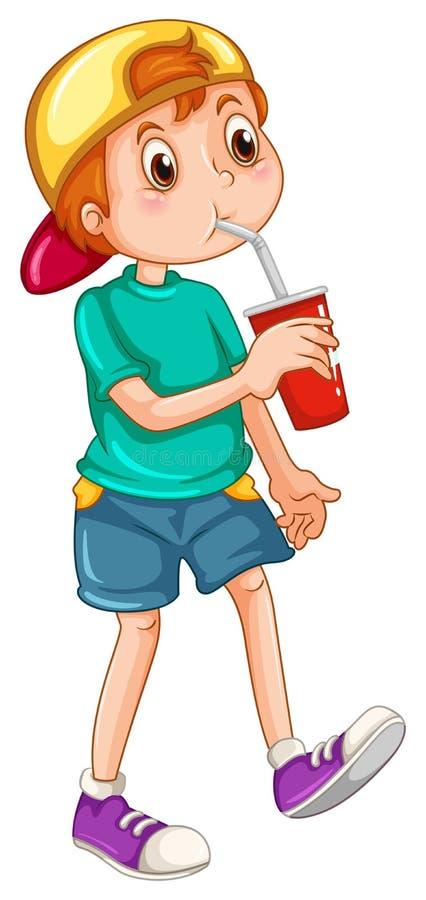 Kleiner Junge, der von einer Schale trinkt lizenzfreie abbildung