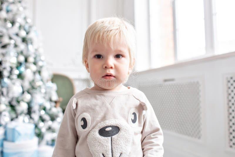 Kleiner Junge des Portraits Glückliches neues Jahr Verzierter Weihnachtsbaum Weihnachtsmorgen im hellen Wohnzimmer Sitzen auf Grü stockbild