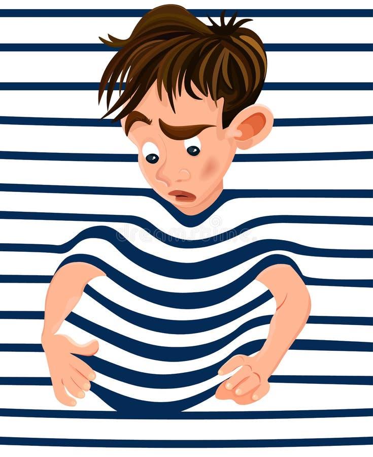 Kleiner Junge eingeschlossen in einem gestreiften Hintergrund Lustige Gesichter der Vektorzeichentrickfilm-figur lizenzfreie abbildung