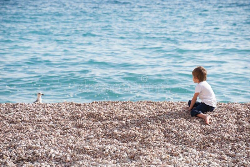 Kleiner Junge im Hemd, das auf Ozeanuferuhr an der Seemöwe in Herbst copyspace sitzt stockfoto