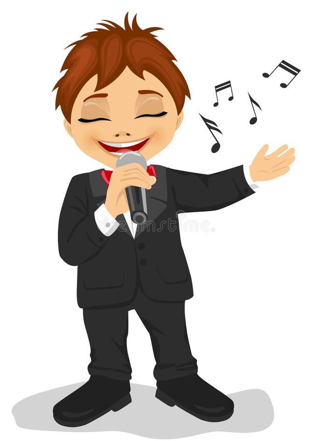 Kleiner Junge im schwarzen Smoking mit Mikrofon singt ein Lied Getrennt auf weißem Hintergrund lizenzfreie abbildung