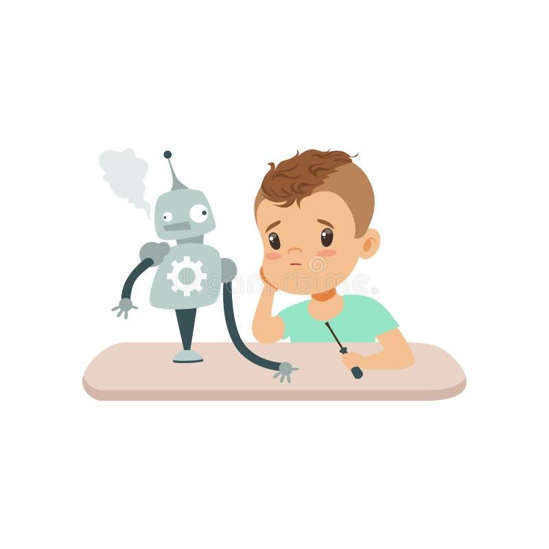 Kleiner Junge ist durch das ausfallen Experiment mit dem Roboter, das Kind umgekippt, das den intelligenten Roboter programmiert  lizenzfreie abbildung