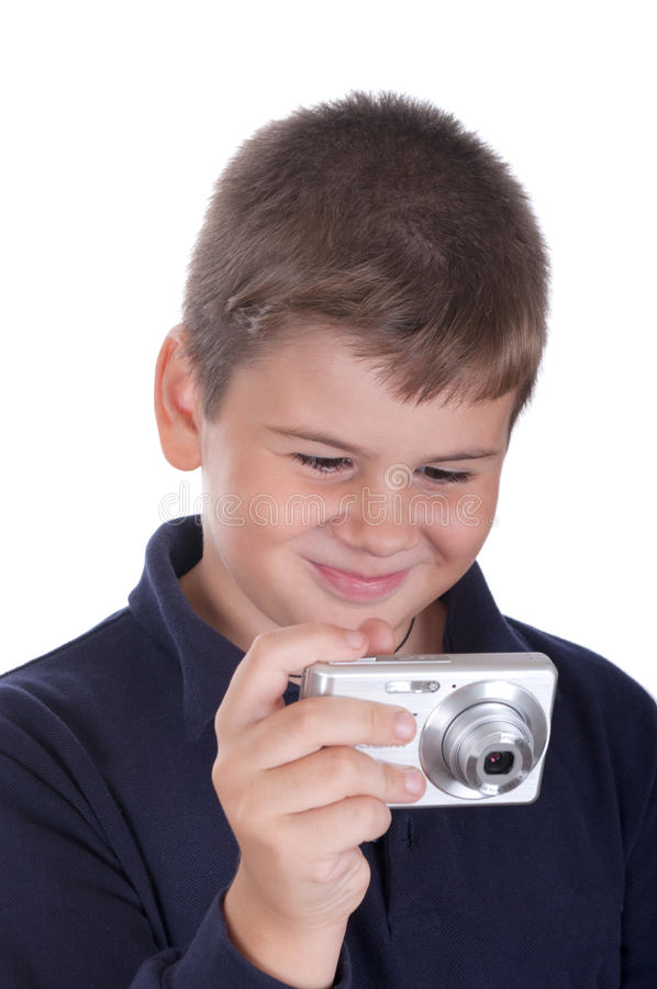 Kleiner Junge mit der Kamera lizenzfreies stockbild