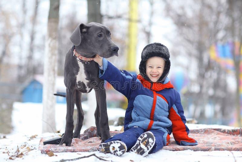 Kleiner Junge mit großem schwarzem Hund stockbilder