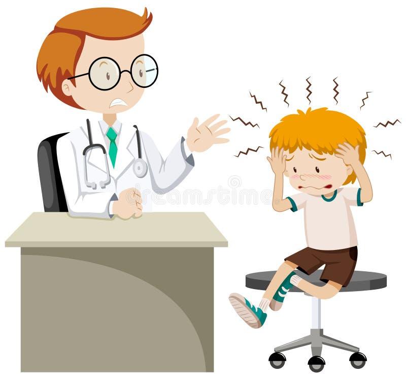 Kleiner Junge mit Kopfschmerzenbesuchsdoktor vektor abbildung