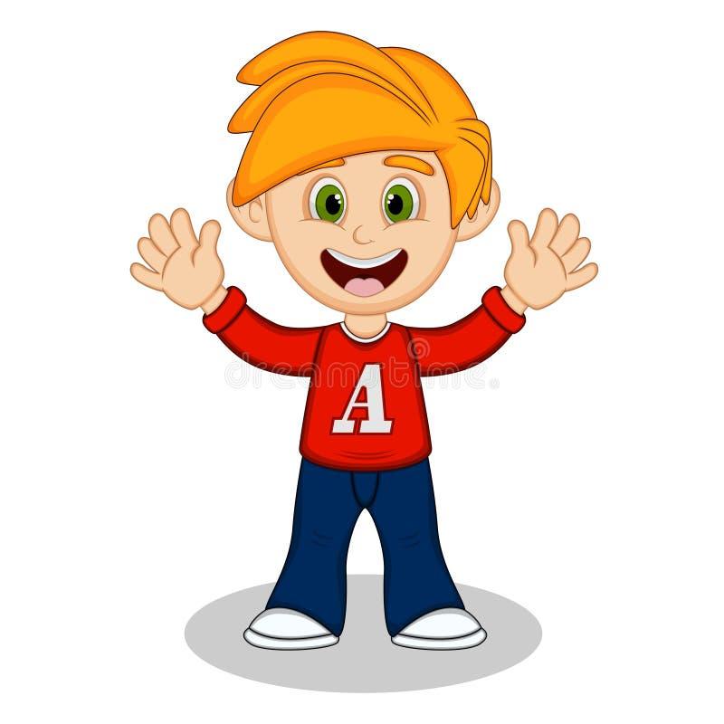 Kleiner Junge mit rotem langem sleeved Hemd und blauen der Hose, die seine Handkarikatur wellenartig bewegt lizenzfreie abbildung