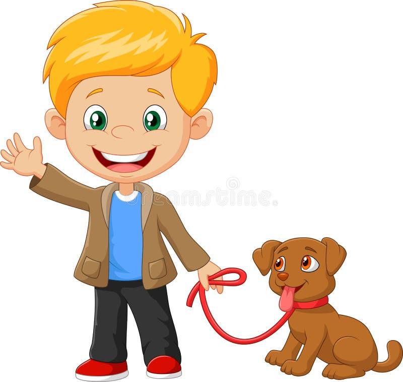 Kleiner Junge mit seinem Hund lokalisiert auf weißem Hintergrund lizenzfreie abbildung