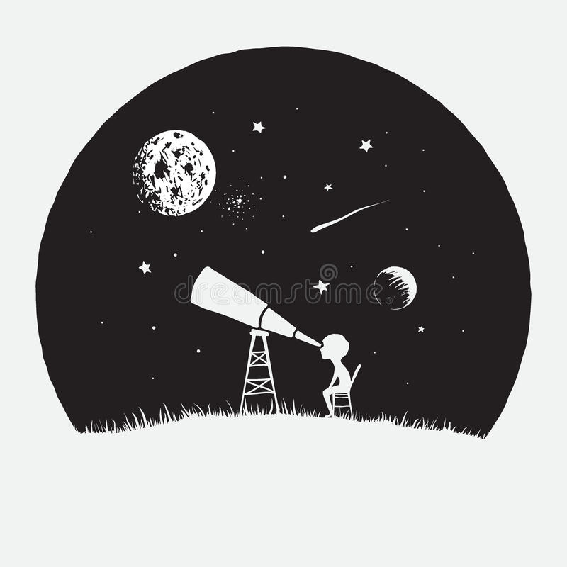 Kleiner Junge schaut zu durch einem Teleskop zum Raum vektor abbildung