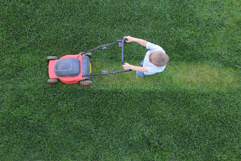 Kleiner Junge schneidet ein Gras unter Verwendung des Rasenmähers lizenzfreies stockbild