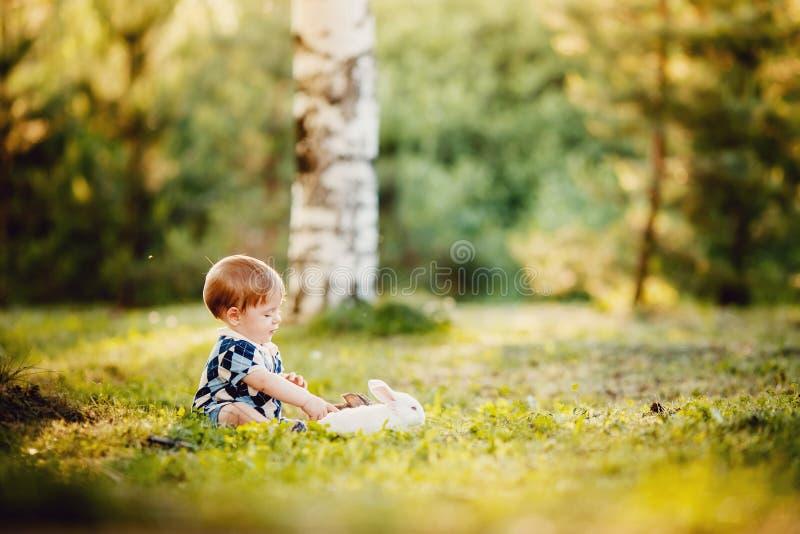 Kleiner Junge spielt mit einem Kaninchen im Park lizenzfreie stockbilder