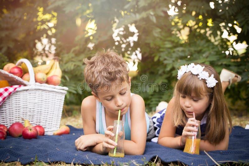 Kleiner Junge und ein Mädchen haben Spaß und trinkenden Saft lizenzfreies stockbild