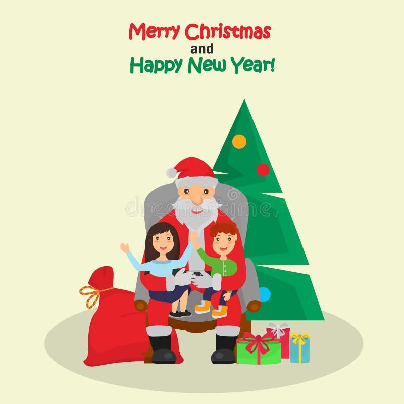 Kleiner Junge und Mädchen sitzen auf der Santa Claus-Kniefarbillustration lizenzfreie abbildung
