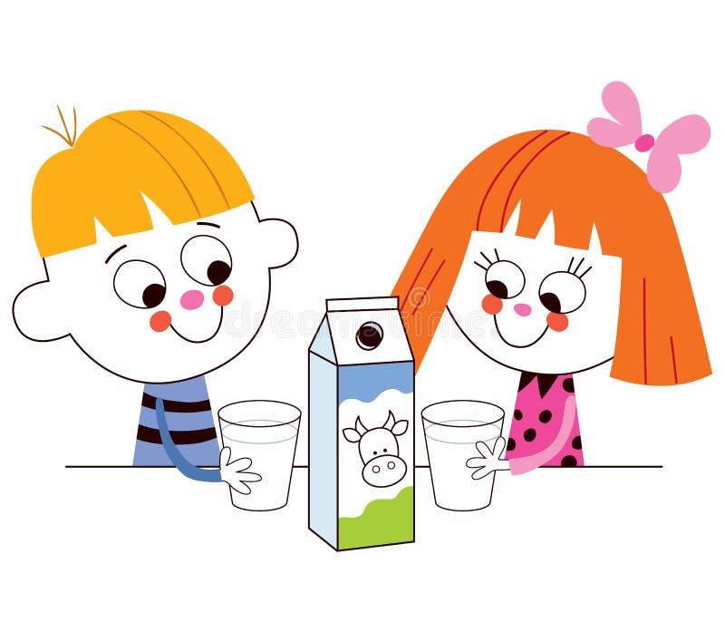 Kleiner Junge und Trinkmilch des Mädchens vektor abbildung