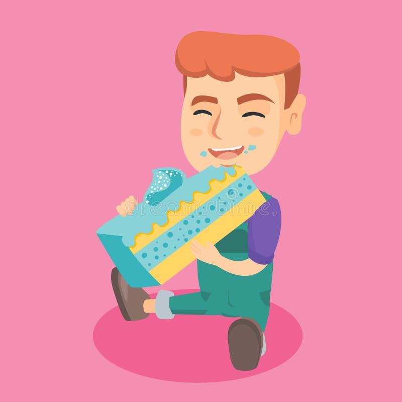 Kleiner kaukasischer glücklicher Junge, der ein Stück des Kuchens isst stock abbildung