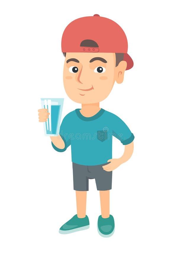 Kleiner kaukasischer Junge, der ein Glas Wasser hält vektor abbildung