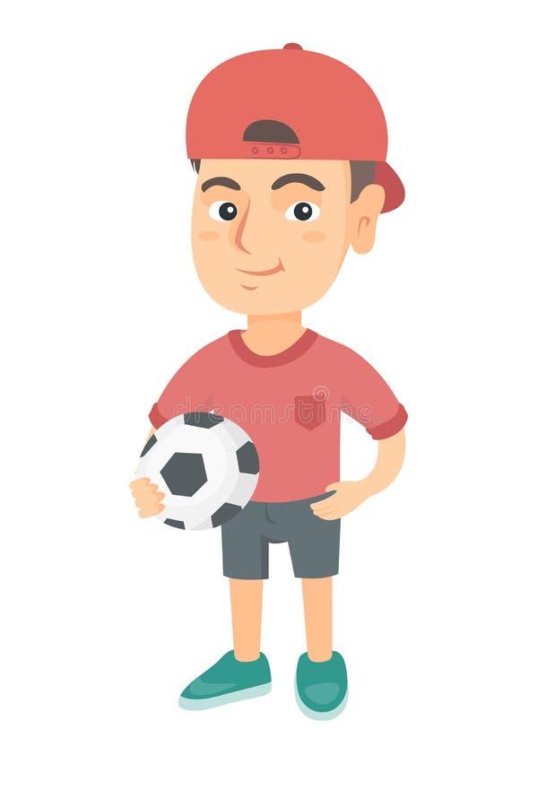 Kleiner kaukasischer Junge, der einen Fußballball hält vektor abbildung