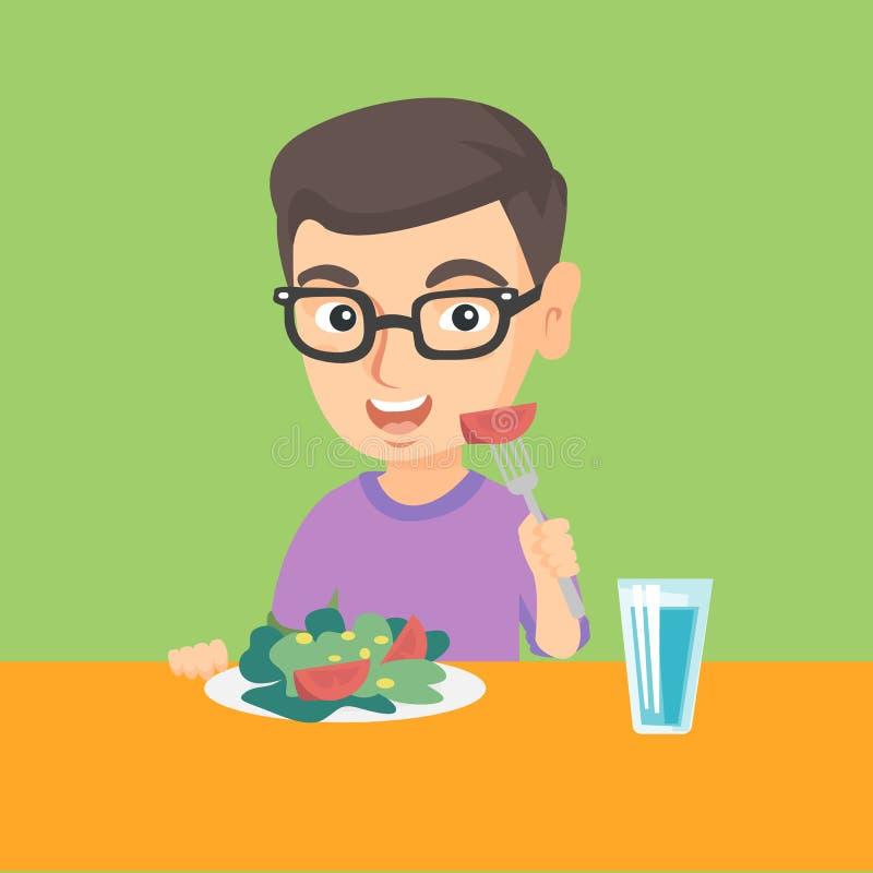 Kleiner kaukasischer Junge, der Gemüsesalat isst stock abbildung