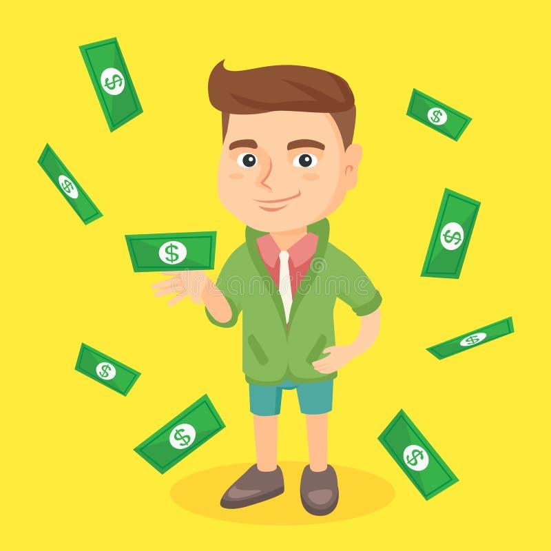 Kleiner kaukasischer Junge, der unter Geldregen steht stock abbildung