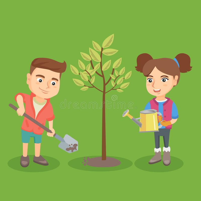 Kleiner kaukasischer Junge und Mädchen, die den Baum pflanzt stock abbildung