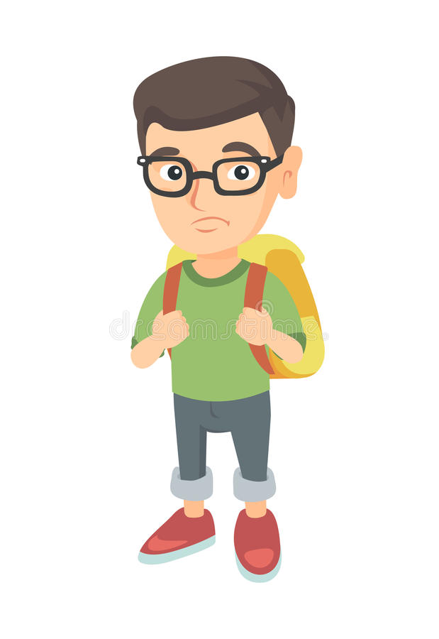 Kleiner kaukasischer trauriger Schüler, der einen Rucksack trägt vektor abbildung