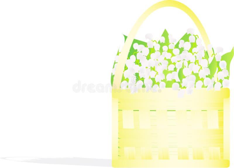 Kleiner kleiner Korb mit den Lilien des Tales lizenzfreie abbildung