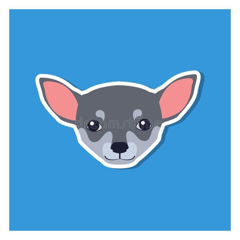 Kleiner Kopf des Chihuahua-Hundes Front View Flat Icon stock abbildung