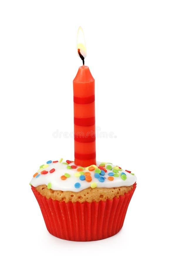 Kleiner Kuchen mit Kerze lizenzfreies stockfoto