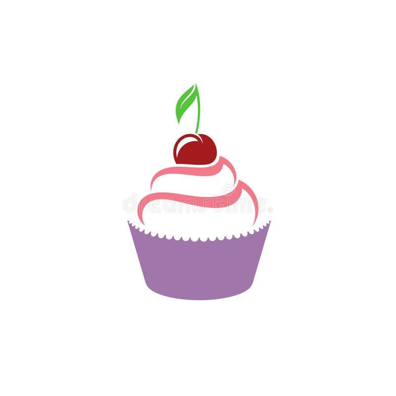 Kleiner Kuchen mit Kirsche lizenzfreie abbildung
