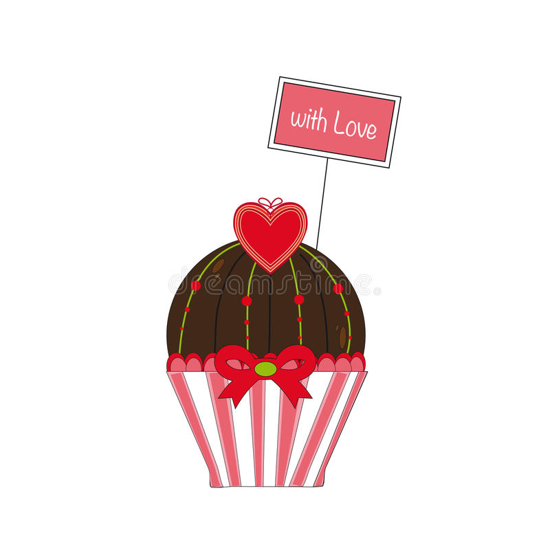 Kleiner Kuchen mit Liebe lizenzfreie abbildung