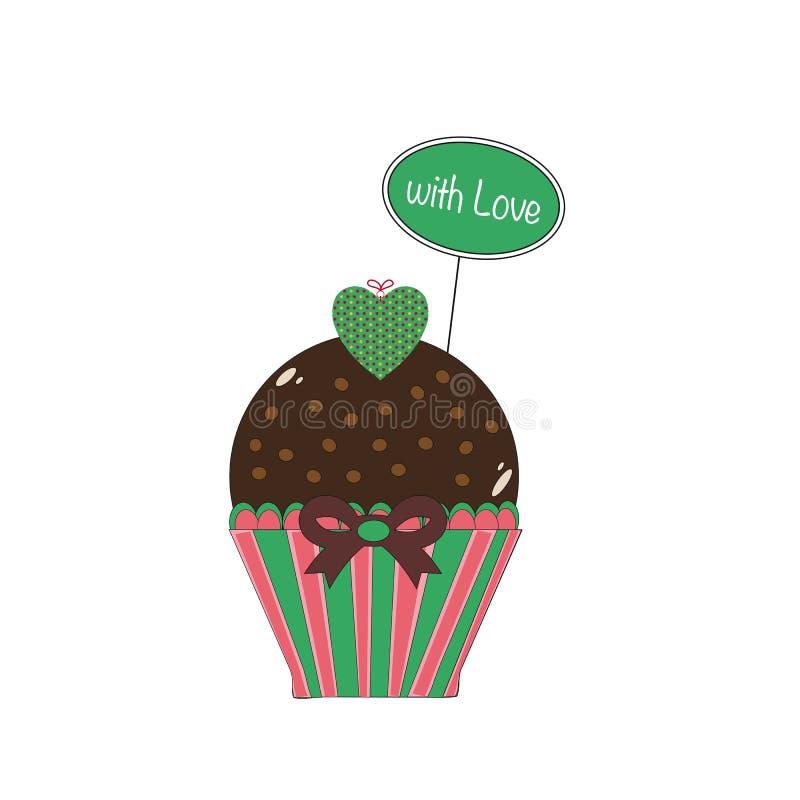 Kleiner Kuchen mit Liebesgrün stock abbildung