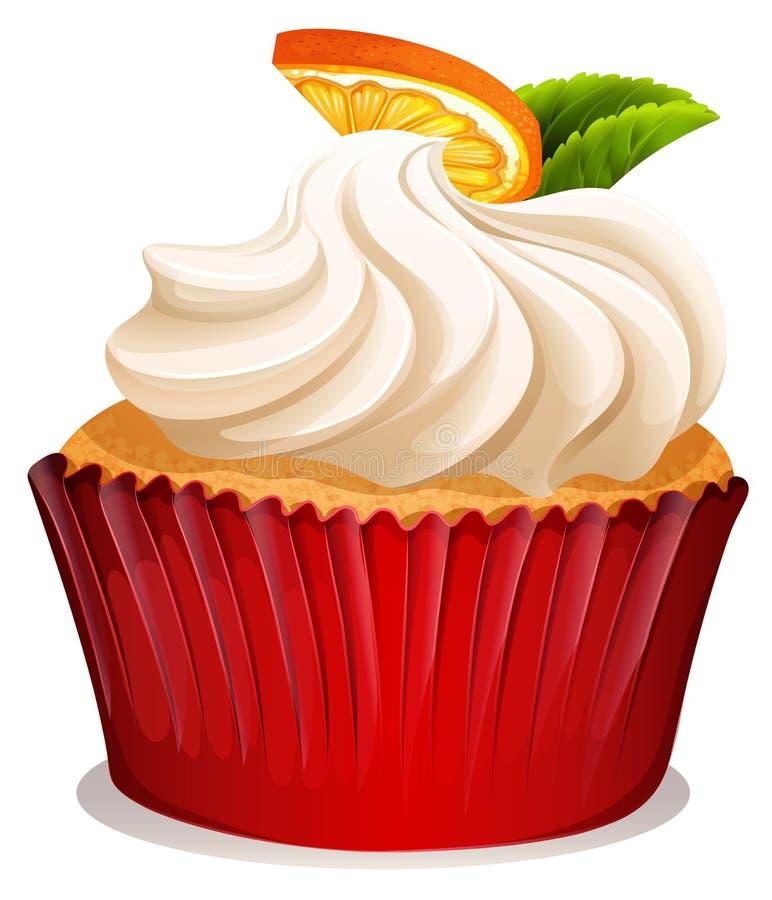 Kleiner Kuchen mit Sahne und Orange vektor abbildung