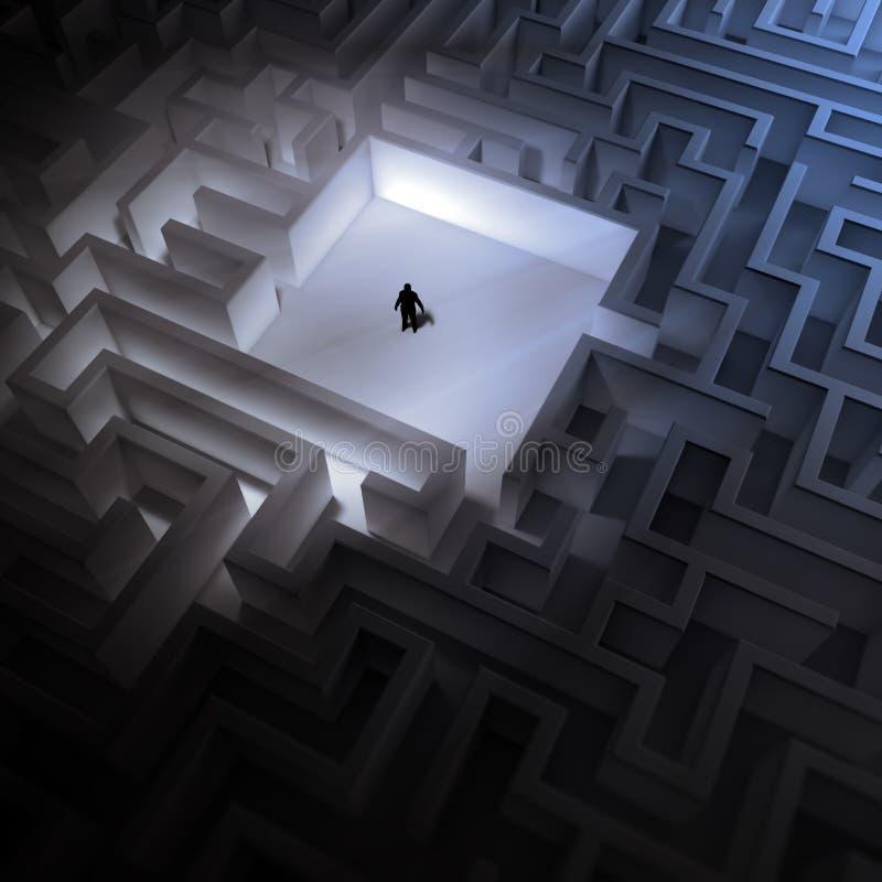 Kleiner Mann in einem endlosen Labyrinth stock abbildung