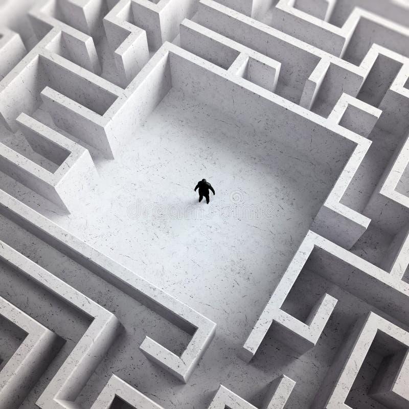 Kleiner Mann in einem Labyrinth stock abbildung