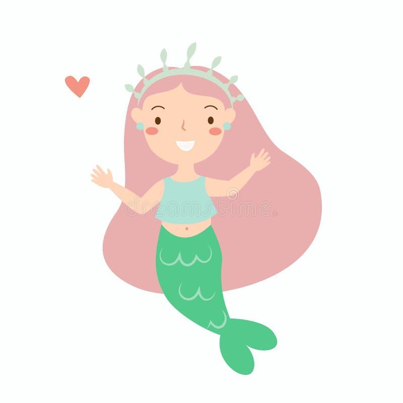 Kleiner Meerjungfrau-Schatz-schönes helles mit dem rosa Haar stock abbildung