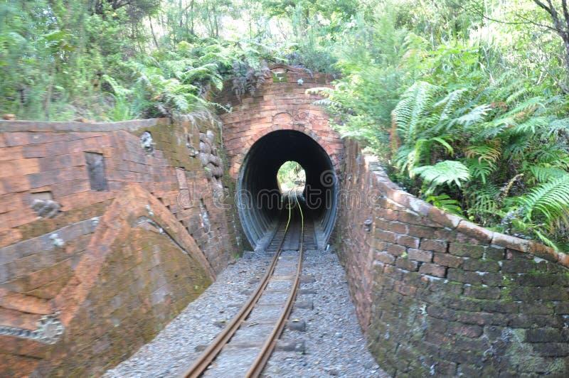 Kleiner Messgerät Eisenbahntunnel in den Ziegelsteinen lizenzfreies stockbild