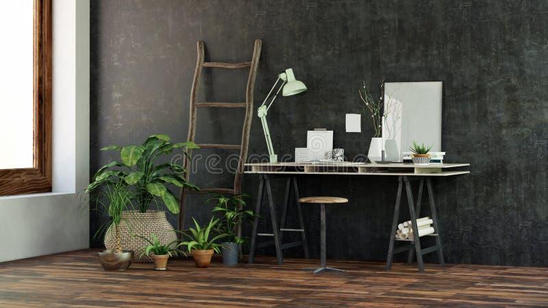 Kleiner moderner Schreibtisch oder Schreibtisch lizenzfreie abbildung