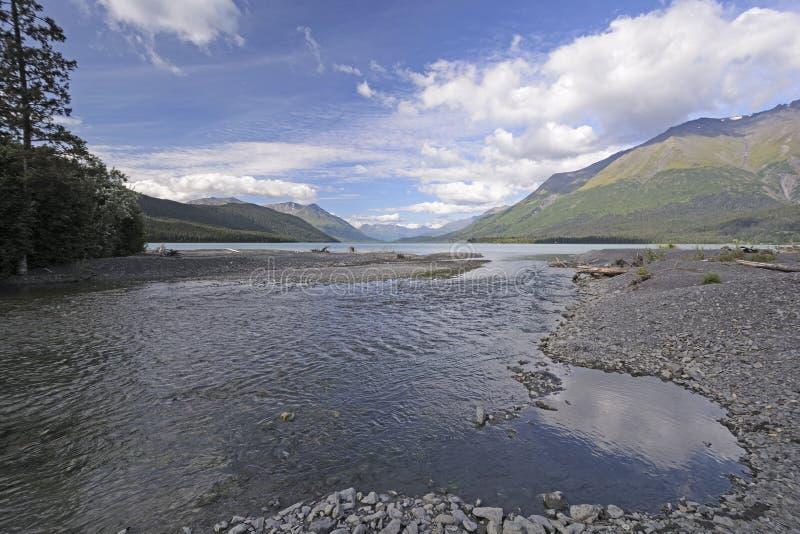 Kleiner Nebenfluss, der in einen alpinen See sich leert lizenzfreie stockfotografie