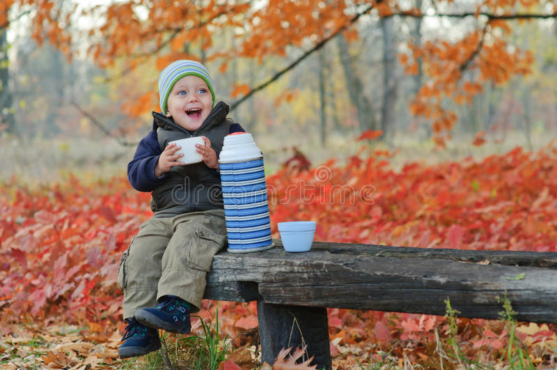 Kleiner netter Junge trinkt Tee lizenzfreie stockfotografie
