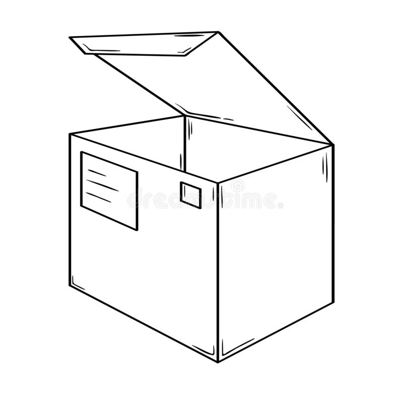 Kleiner offener Kasten mit Adreßkarte und -poststempel stock abbildung