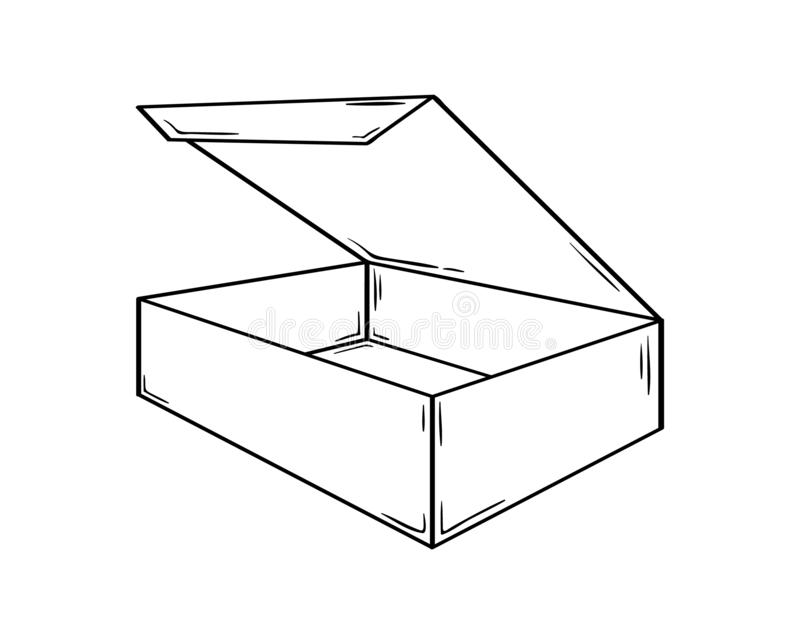 Kleiner offener Kasten, Skizze lizenzfreie abbildung