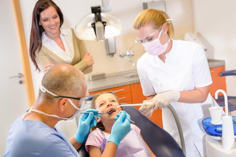 Kleiner Patient am Zahnarzt lizenzfreies stockbild