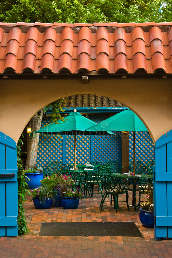 Kleiner Patio in Santa Fe stockfotografie
