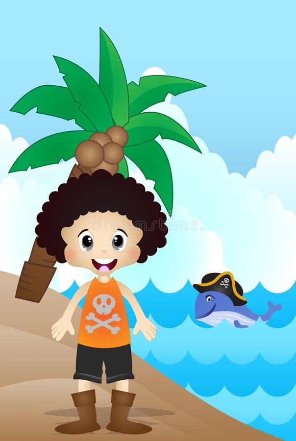 Kleiner Pirat auf Strand-Karikatur stock abbildung
